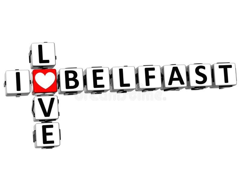 3D eu amo palavras cruzadas de Belfast ilustração royalty free
