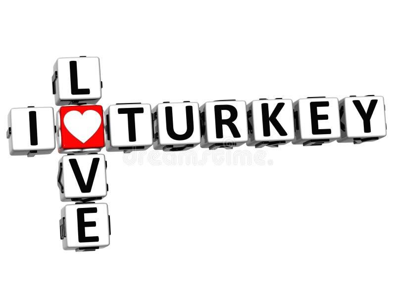 3D eu amo palavras cruzadas de Turquia ilustração royalty free