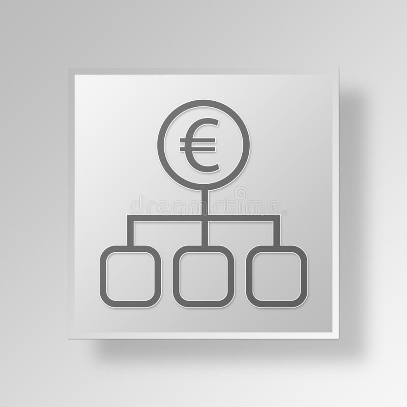 3D Euro Strategy icon Business Concept royalty free illustration