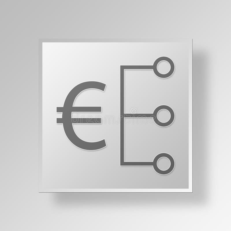3D Euro Strategy icon Business Concept vector illustration
