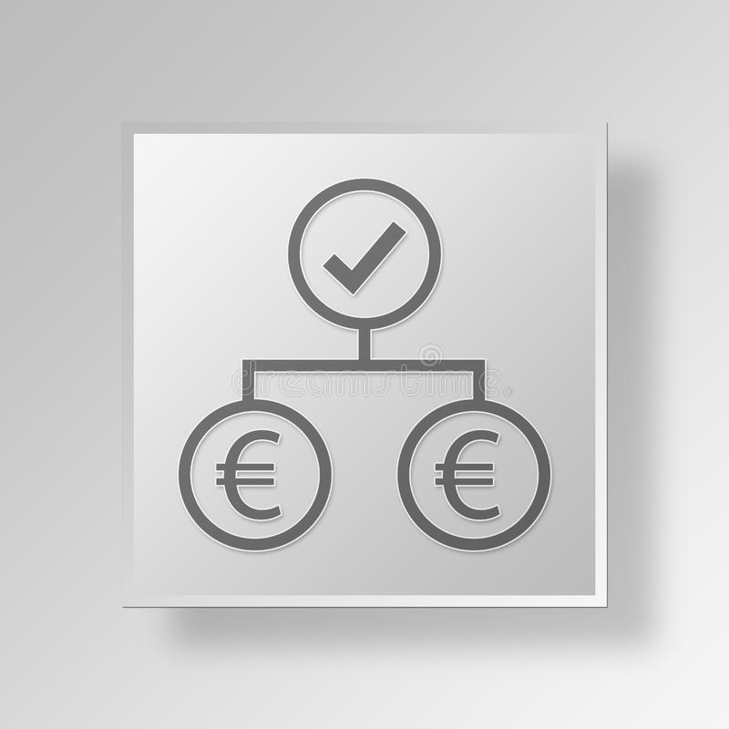 3D Euro Strategy icon Business Concept stock illustration