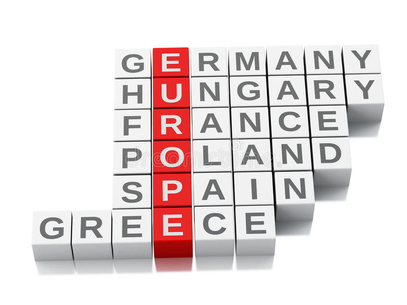 3d europe concept. Crossword with letters. 3d europe country concept. Crossword with letters. white background stock illustration