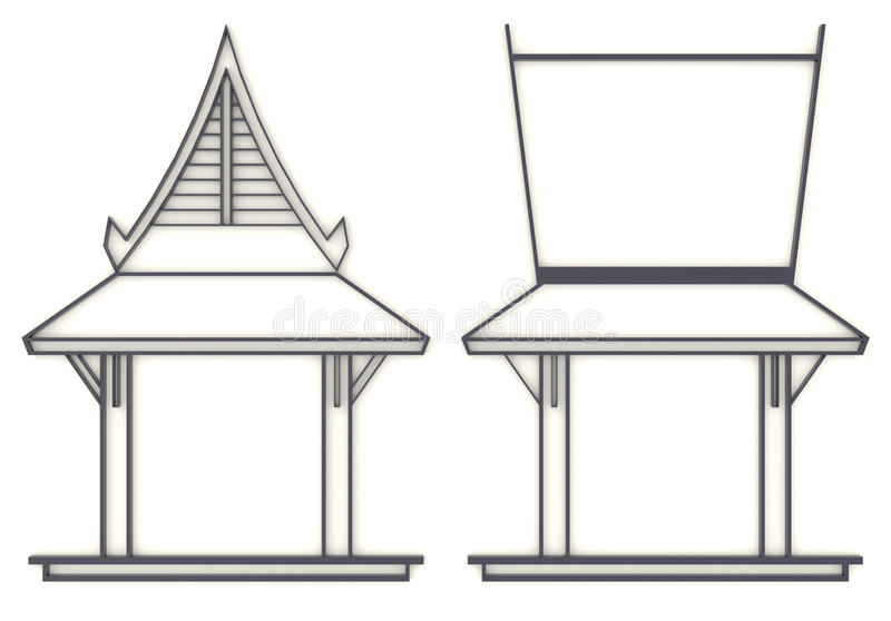 3D evelation drawing of south-east Asian pavilion or temple in f. Ront and side view stock illustration