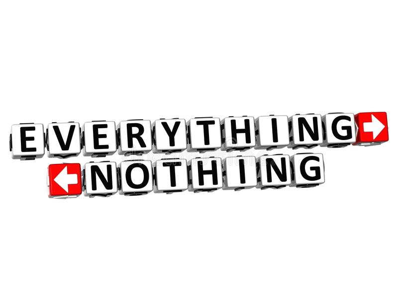 3D Everything Nothing Button Click Here Block Text stock illustration