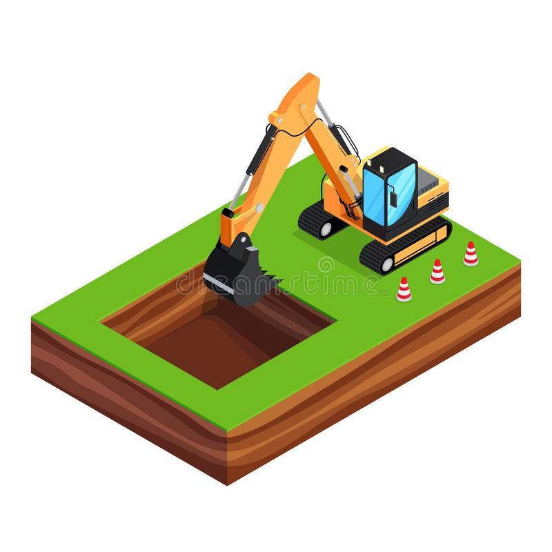3d excavator is digging a pit for the foundation. Isometric concept of building a house. 3d excavator is digging a pit for the foundation. House construction stock illustration