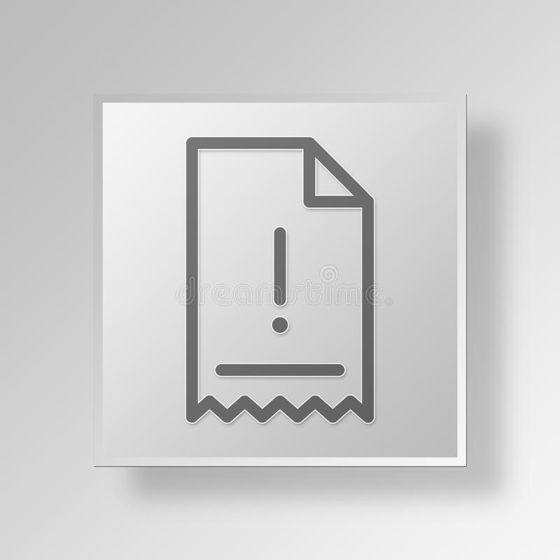 3D Exclamation Mark Invoice icon Business Concept. 3D Symbol Gray Square Exclamation Mark Invoice icon Business Concept stock illustration