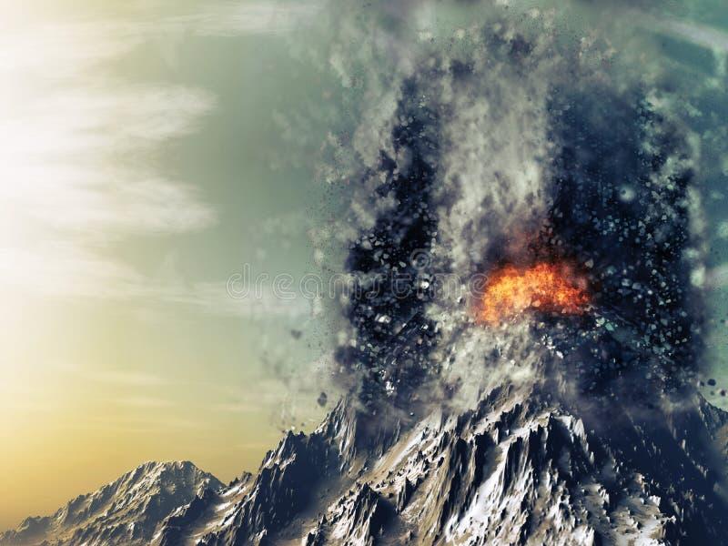 3D exploderende vulkaan royalty-vrije illustratie