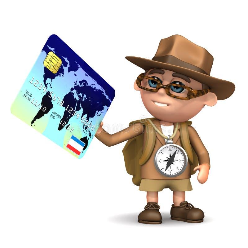 3d Explorer checkout. 3d render of Explorer kid paying by debit card vector illustration