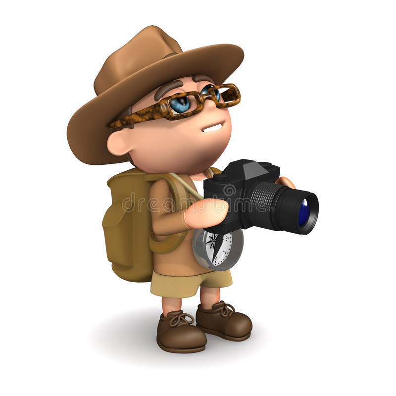 Download 3d Explorer takes a photo stock illustration. Image of scientist - 39045847