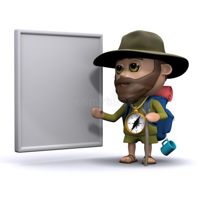 3d Explorer with a whiteboard vector illustration