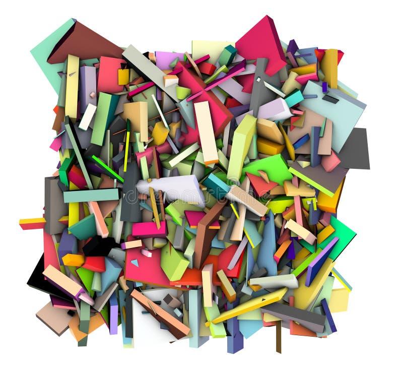 3d extrahieren die Form, die im Regenbogenfarbhintergrund zersplittert wird stock abbildung