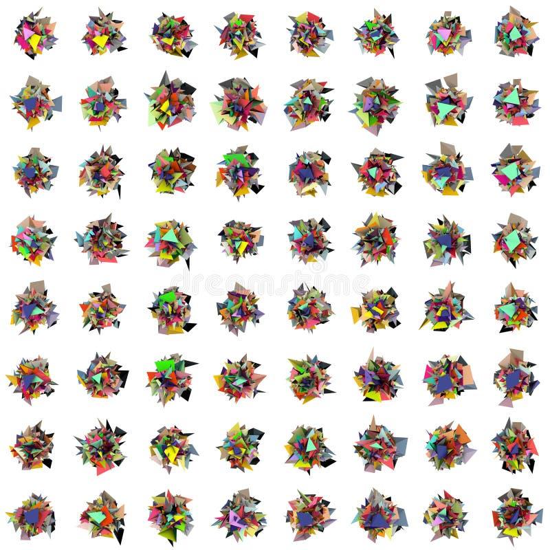 3d extrahieren festgenageltes Formmuster des Regenbogens Farbe auf Weiß lizenzfreie abbildung