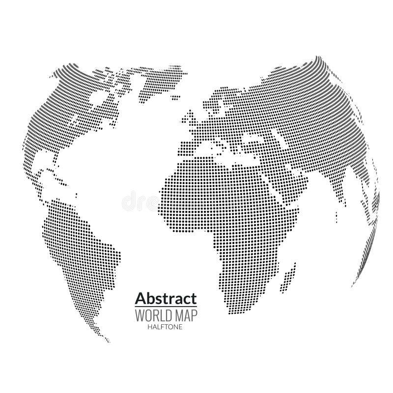3d extrahieren Weltkarteplaneten, Punkte, globales Halbtonkonzept lizenzfreie abbildung