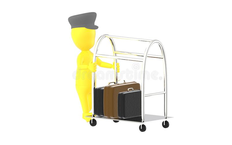 3d färben beweglichen Gepäckwarenkorb des Charakterhotelpagen mit Aktenkoffer in ihm gelb vektor abbildung