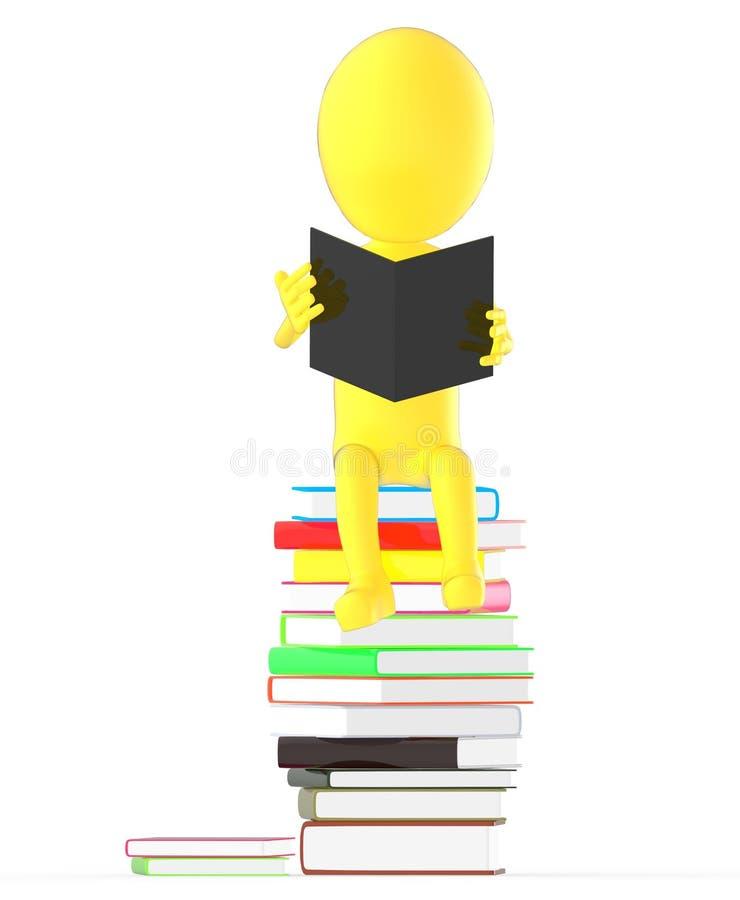 3d färben Charakterlesebuch beim Sitzen auf die Oberseite des Stapels der Bücher gelb stock abbildung