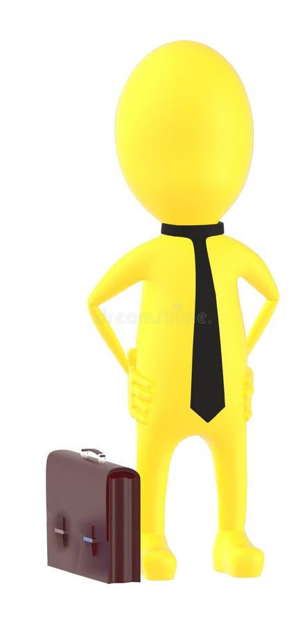 3d färben tragende Bindung des Charakters gelb und Hände auf Hüften werfen auf - herrschen Sie vor, überzeugt stock abbildung
