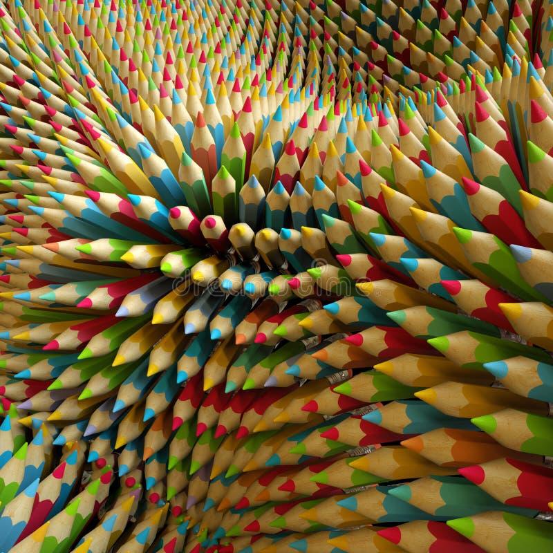 3d färgade blyertspennor, abstrakt digital illustration stock illustrationer
