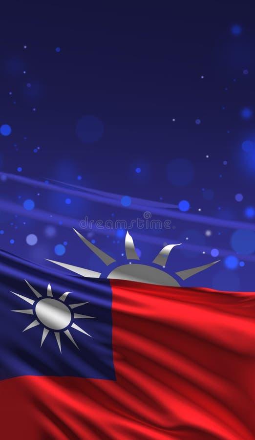 3D färgar den taiwanesiska flaggan, Taiwan 3D för att framföra vektor illustrationer