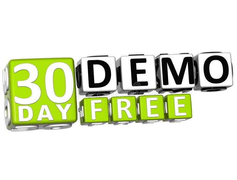 3D får 30 dag Demo Free Block Letters vektor illustrationer