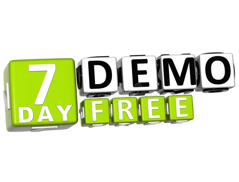 3D får 7 dag Demo Free Block Letters royaltyfri illustrationer