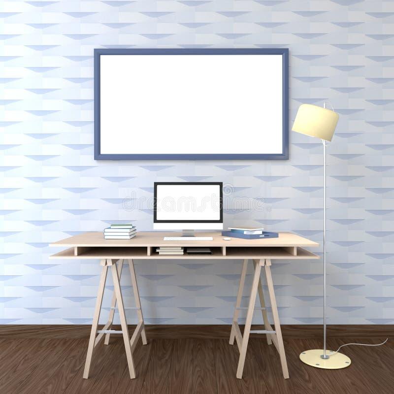3d förbigår fotoramen för åtlöje upp på väggen vektor illustrationer