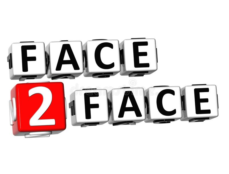 3D Face To Face Button Click Here Block Text royalty free illustration