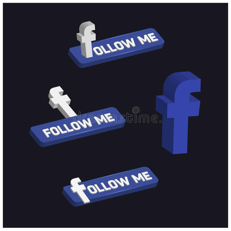 3d Facebook Follow Me Button royalty free illustration