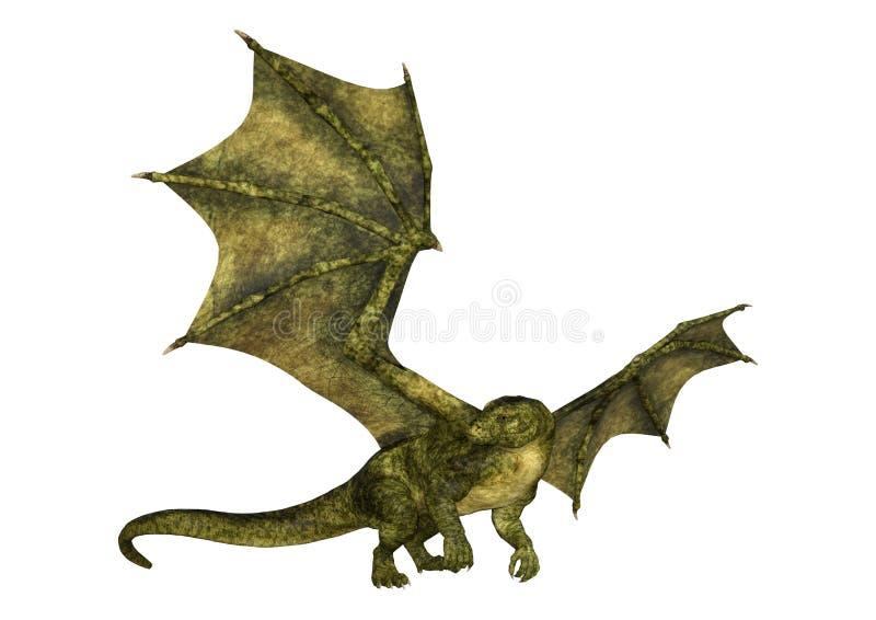 3D Fairy Tale Dragon renderen op wit royalty-vrije stock fotografie