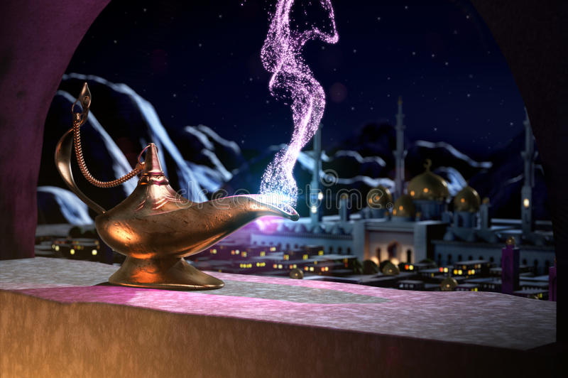 3D fairytale of magic lamp. Magic lamp on the window with panorama of sultans palace at night vector illustration