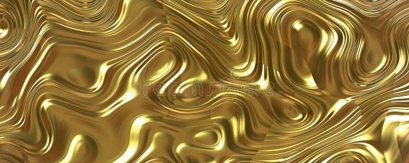 3D fali tekstury Ciekły Złocisty tło ilustracja wektor