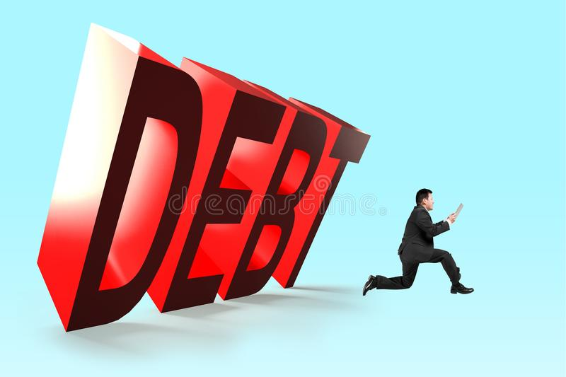 3D falling DEBT word with running bussinessman. Business debt concept royalty free stock photo