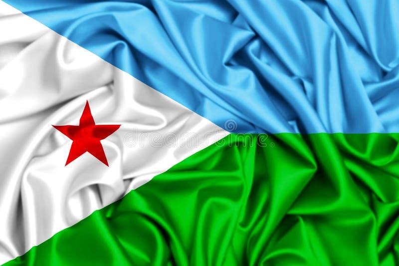 3d falowania flaga Djibouti royalty ilustracja