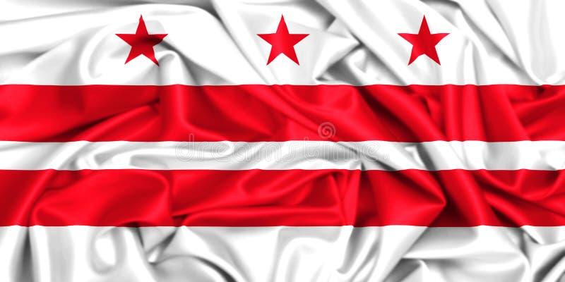 3d falowania flaga Waszyngtoński d C Kolumbia okręg ilustracji