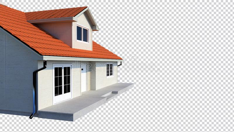 3d family house isolated transparent background vector illustration