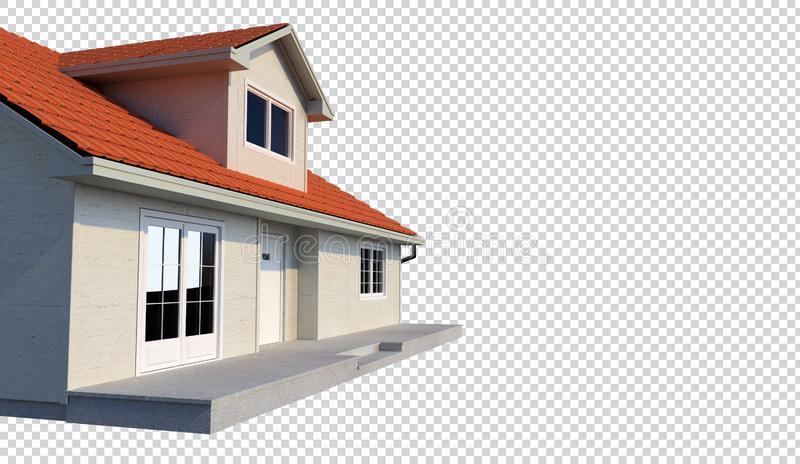 3d family house isolated transparent background stock illustration