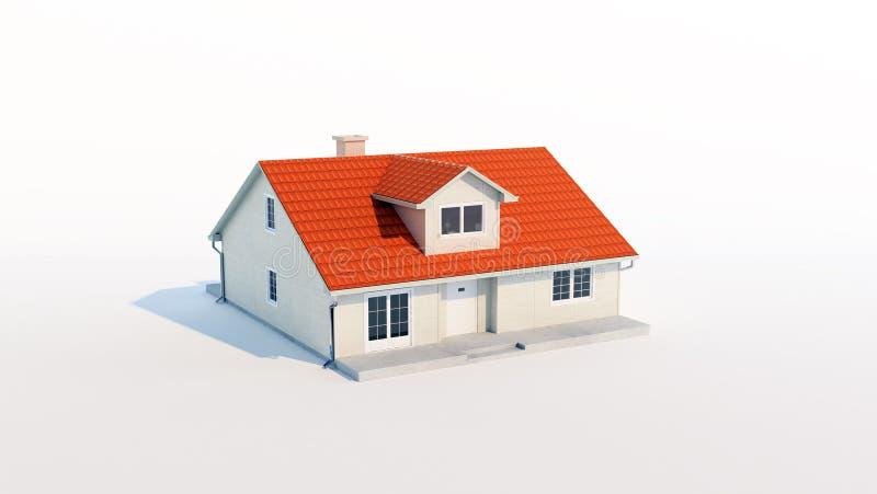 3d family house isolated white background stock illustration