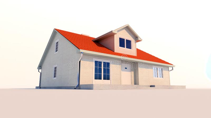 3d family house isolated white background in the sunset stock illustration