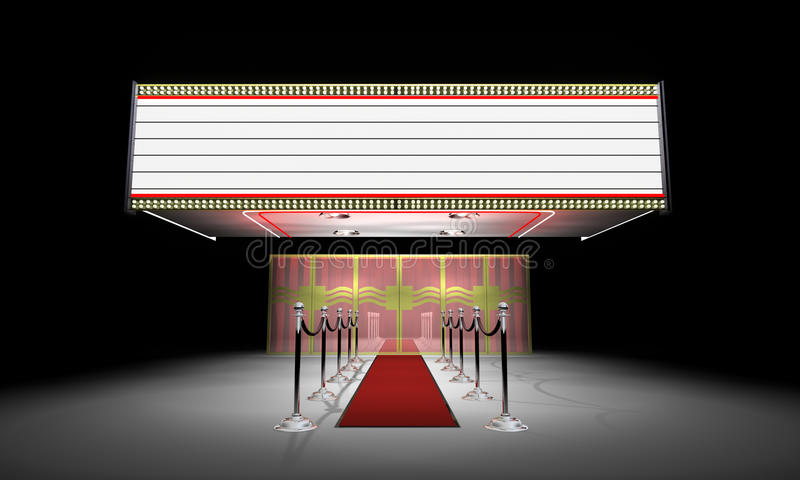 3d: Fantastischer Theater-Eingang mit Festzelt stock abbildung