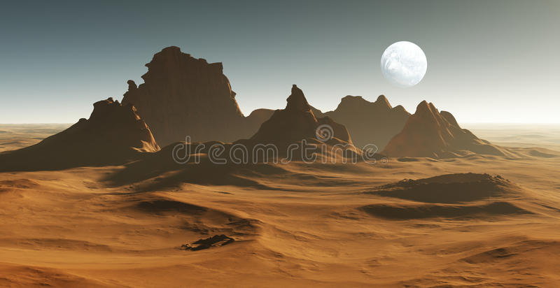 3D Fantasy desert landscape with crater. Illustration royalty free illustration