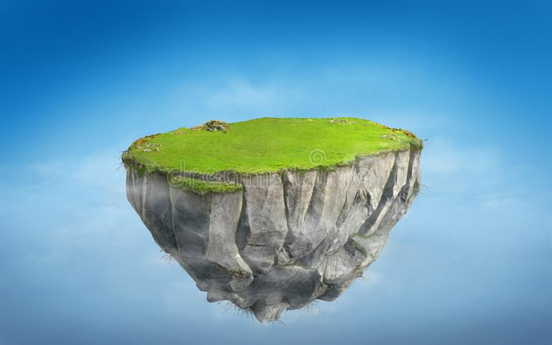 3D fantasy floating island with green grass land on blue sky stock illustration