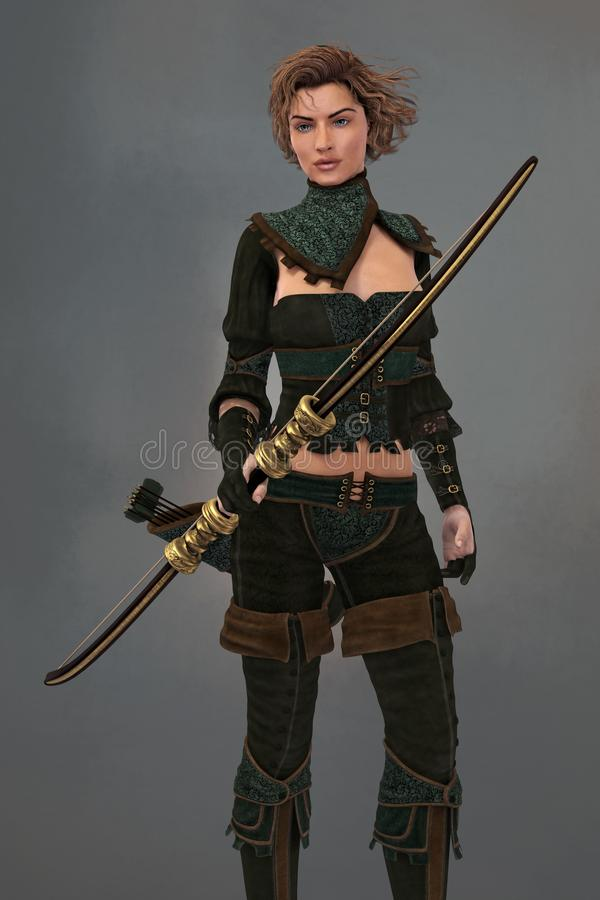 3D Fantasy Medieval Ranger Archer Woman Holding a Bow. Render of female fantasy woodlands ranger woman holding a bow. Ideal character for book cover art and stock illustration