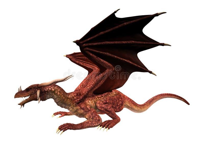 3D fantazi Ilustracyjny Czerwony smok na bielu royalty ilustracja
