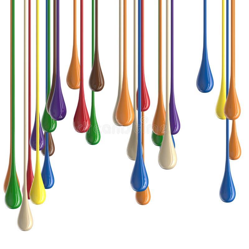 3D farby kropli multicolor kolorowe glansowane krople obraz stock