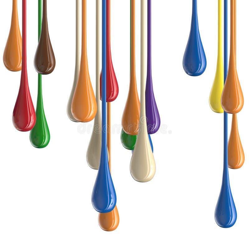 3D farby kropli multicolor kolorowe glansowane krople ilustracji