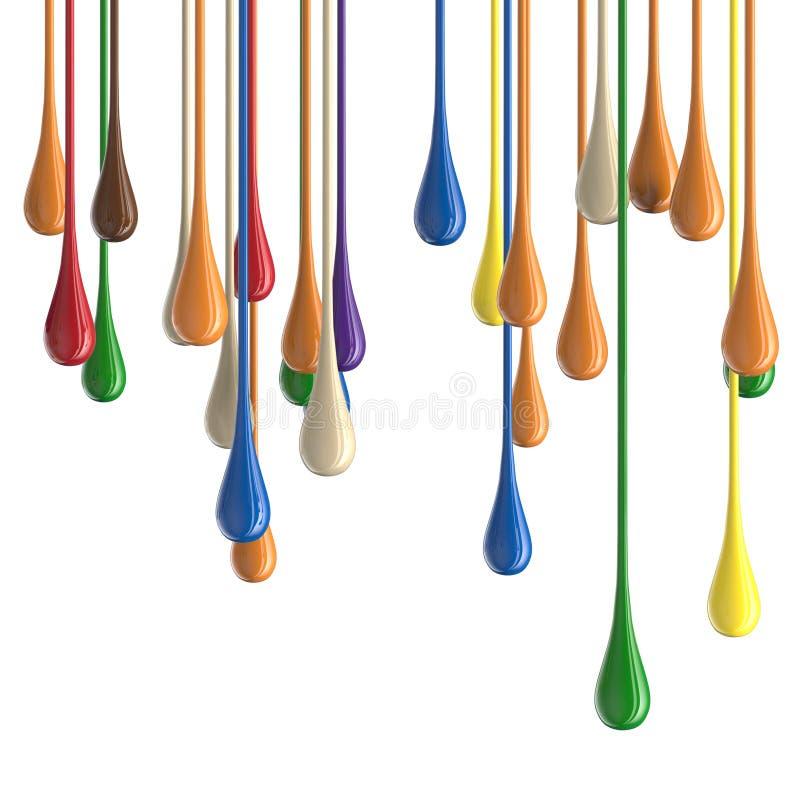 3D farby kropli multicolor kolorowe glansowane krople ilustracja wektor