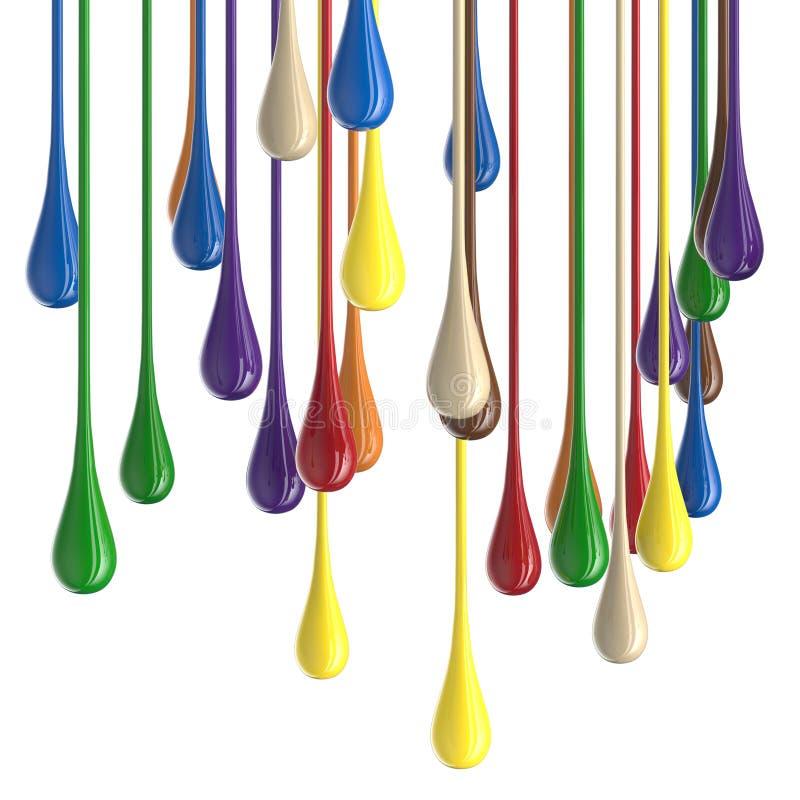 3D farby kropli multicolor kolorowe glansowane krople royalty ilustracja
