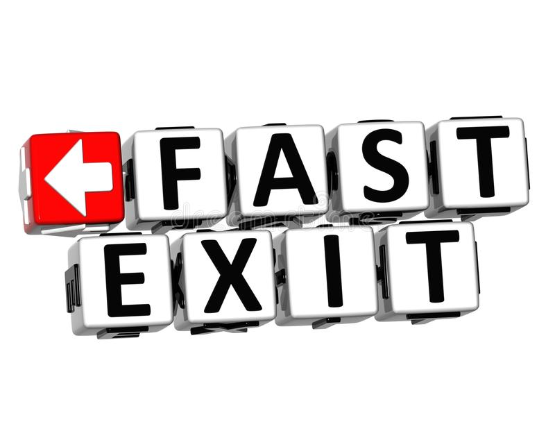 3D Fast Exit Button Click Here Block Text stock illustration