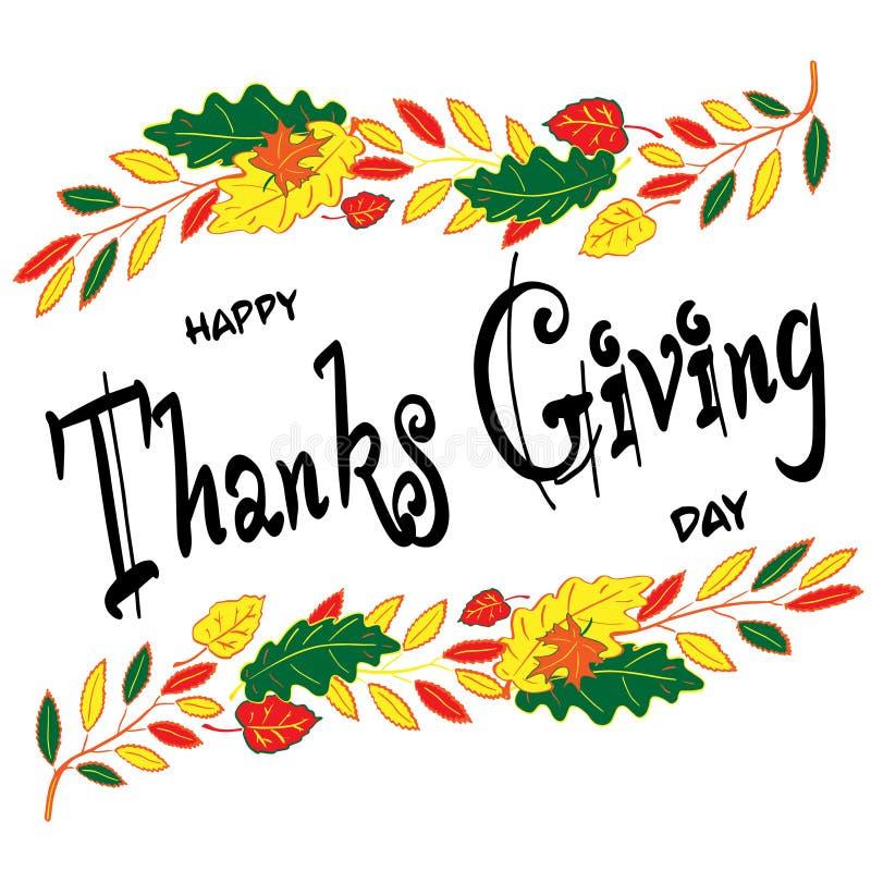 D?a feliz de la acci?n de gracias Poner letras a la composición en el marco del otoño coloreó las hojas Ilustraci?n del vector stock de ilustración