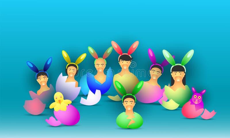 D?a feliz de Pascua pequeño ser humano del pollo del conejo recién nacido de los huevos en la tierra Ilustraci?n EPS10 del vector libre illustration