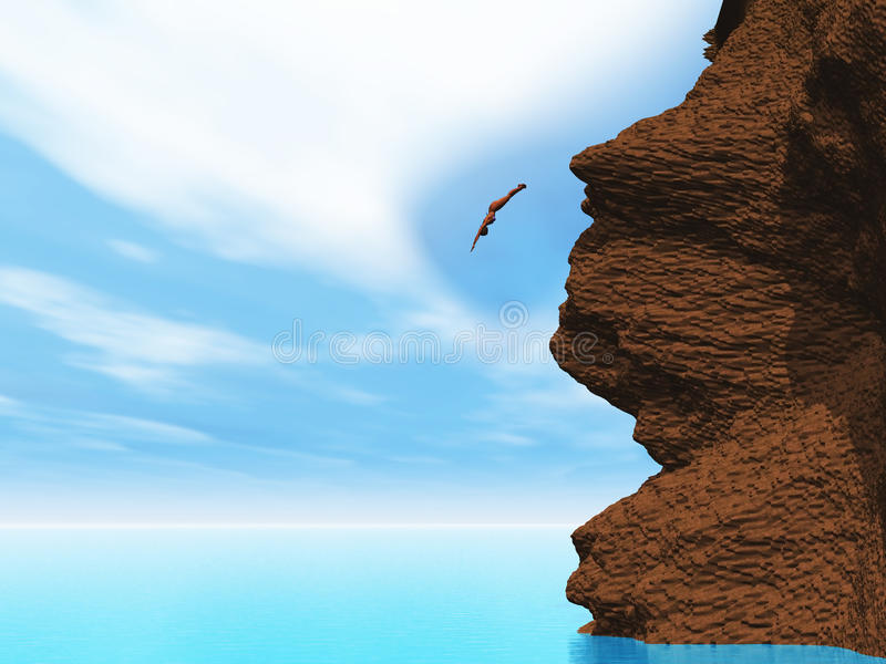 3D female diving off a cliff royalty free illustration